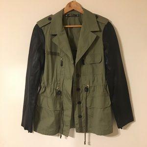 Zara Army Green Utility Jacket Leather Sleeves M